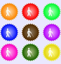 Blind icon sign a set of nine different colored vector