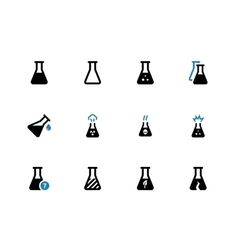Experiment flask duotone icons on white background vector