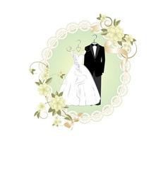 Wedding invitation card with cartoon dress of brid vector