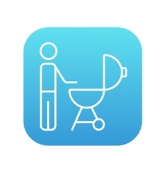 Man at barbecue grill line icon vector