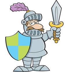 Cartoon knight holding a sword and a shield vector