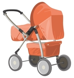 Baby carriage orange baby pram vector