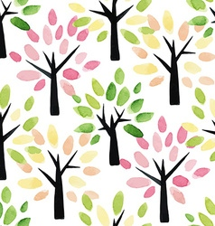 Seamless pattern with watercolor trees vector