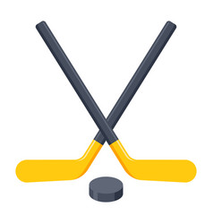 crossed hockey sticks vector image vector image