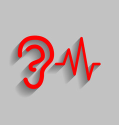ear hearing sound sign red icon with soft vector image vector image