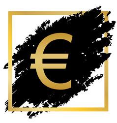 Euro sign golden icon at black spot vector