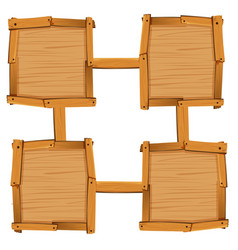 Four wooden square as board templates vector