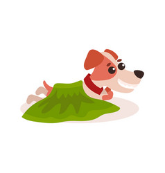 Jack russell terrier character lying on the floor vector