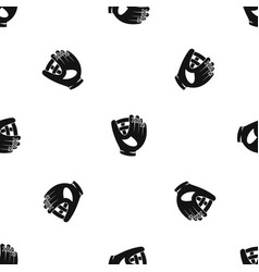 Leather baseball glove pattern seamless black vector