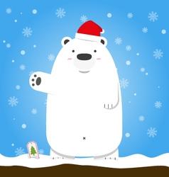 Merry Christmas white polar bear wear hat standing vector image