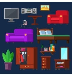 Modern Furniture set for rooms of house vector image vector image