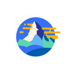 Modern mountain emblem vector