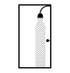 Monochrome silhouette of bathroom with the shower vector