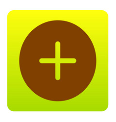 Positive symbol plus sign brown icon at vector