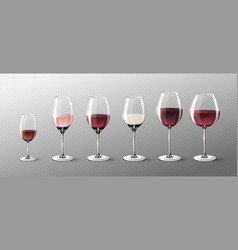 realistic full glasses collection vector image vector image