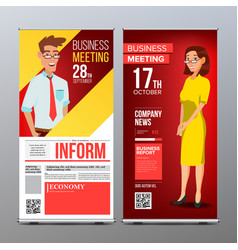 roll up display vertical poster template vector image vector image