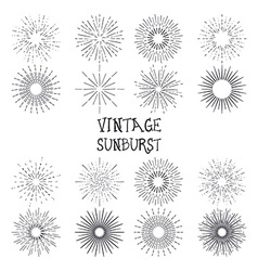 Set of vintage hand drawn sunbursts vector