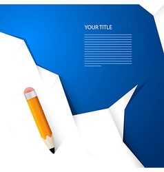 White paper with pencil on blue background simple vector