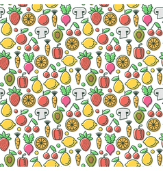 Seamless pattern with tasty eco healthy fruits and vector