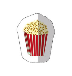 Color background sticker of butter popcorn vector