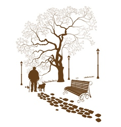 Loneliness a walk in the park man with a dog vector
