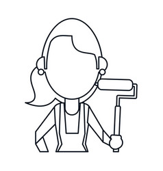 Painter woman with overalls and roller thin line vector