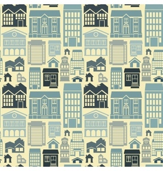 seamless pattern with houses and buildings vector image