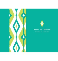Emerald green ikat diamonds horizontal seamless vector