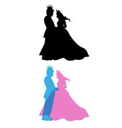 prince and princess with crown king and queen vector image