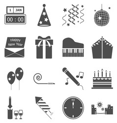 New year gray icons on white background vector