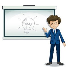 A man in front of the bulletin board with an image vector