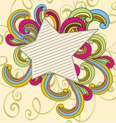 vintage doodle star vector image