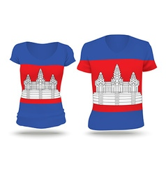 Flag shirt design of cambodia vector