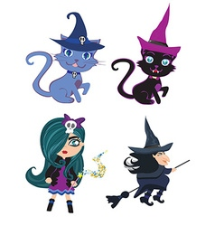 Witches and cats - set vector