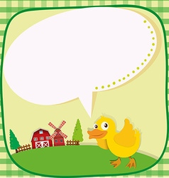 Border design with duckling on the farm vector
