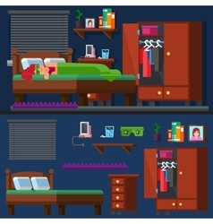 Girl sleep in the bed woman room bedtime vector