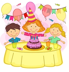 Children celebrating birthday vector