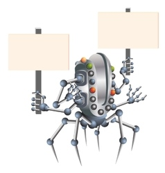 Little robot electronic computer device vector image