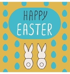 Happy easter greeting card with bunnies vector