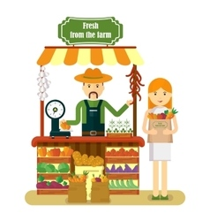 Woman buys fresh vegetables vector