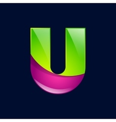 U letter green and pink logo design template vector