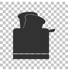 Toaster simple sign dark gray icon on transparent vector