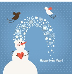 Christmas card funny snowman and birds vector image