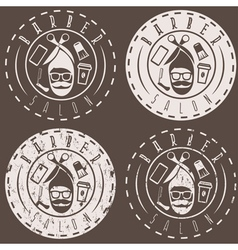Hipster style labels of barber salon vector