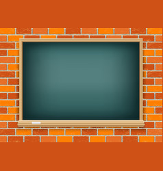blackboard on red brick background vector image vector image