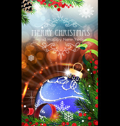 Blue christmas bauble with sparkles and fir vector