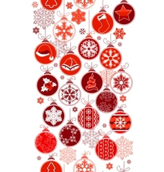 christmas vertical seamless border with balls vector image vector image