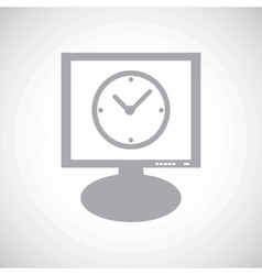 Clock grey monitor icon vector