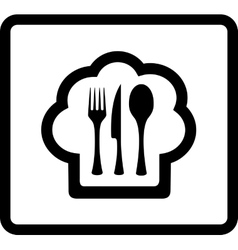 Cook hat with kitchen ware - restaurant icon vector