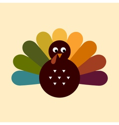 Cute retro Thanksgiving Turkey isolated on beige vector image